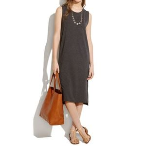 Madewell Gray Sleeveless Midi Dress w/ Side Slits